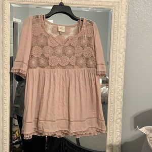Baby Pink Embellished Lace Flowy Blouse
